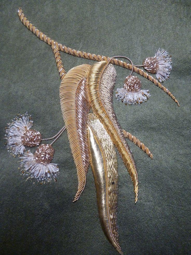 """Ручная вышивка """"Цветущий эвкалипт"""".Цветная канитель,трунцал,ювелирный бисер,вышивальные нитки,золотная нить.2015г."""