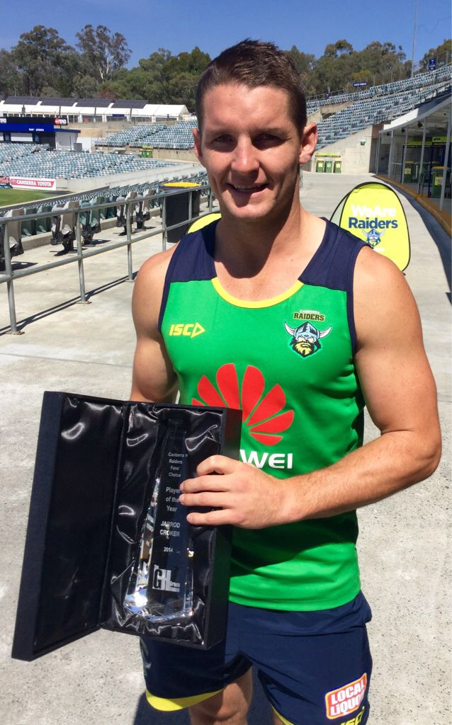 2014 Canberra Raiders Fans' Choice Player of the Year, Jarrod Croker, receives the award.