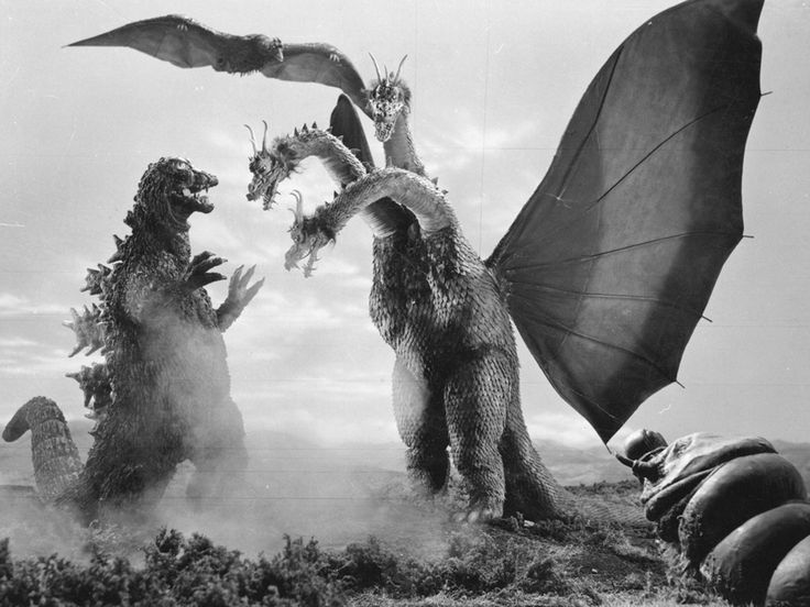 """Japanese monster movies are a joy.  This is a still from one of my favorites, the immortal """"Ghidrah:  The Three-Headed Monster."""""""