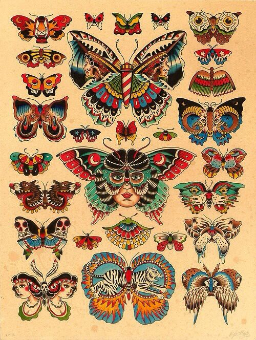 Butterfles and moths illustration. Probably vintage, possibly for tattoos
