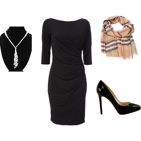 Classic black dress and black heels with burberry scarf