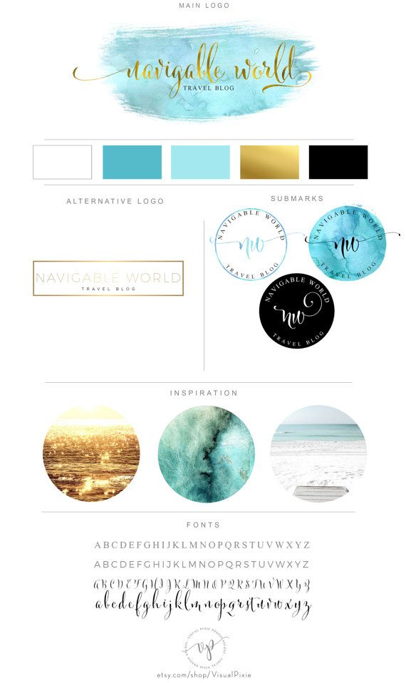 Branding Package  Seaglass Blue Watercolor Gold by VisualPixie