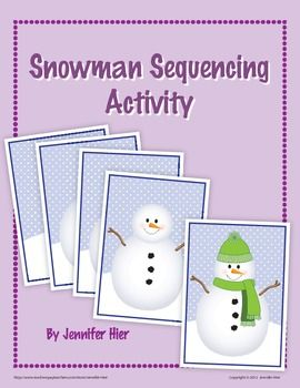 Snowman sequencing activity for preschool, pre-k and early childhood.