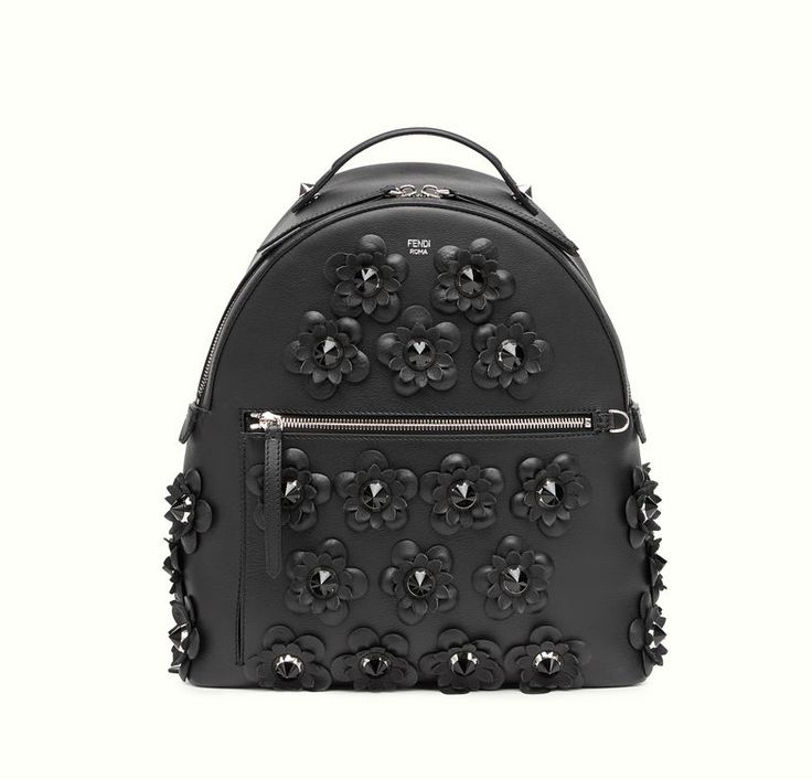 Fendi backpack in black leather with flowers