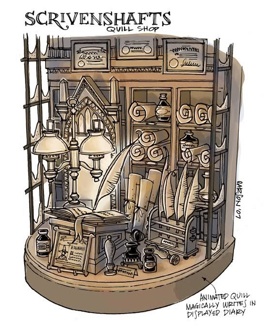Harry Potter hogsmeade window display concept