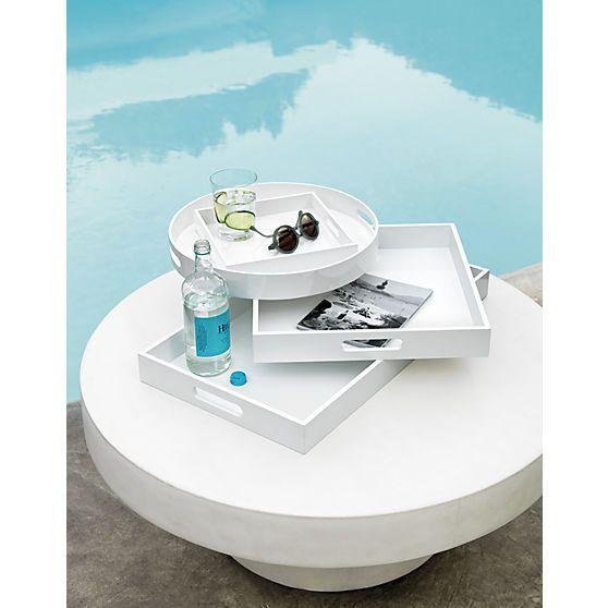 high-gloss small square white tray    CB2