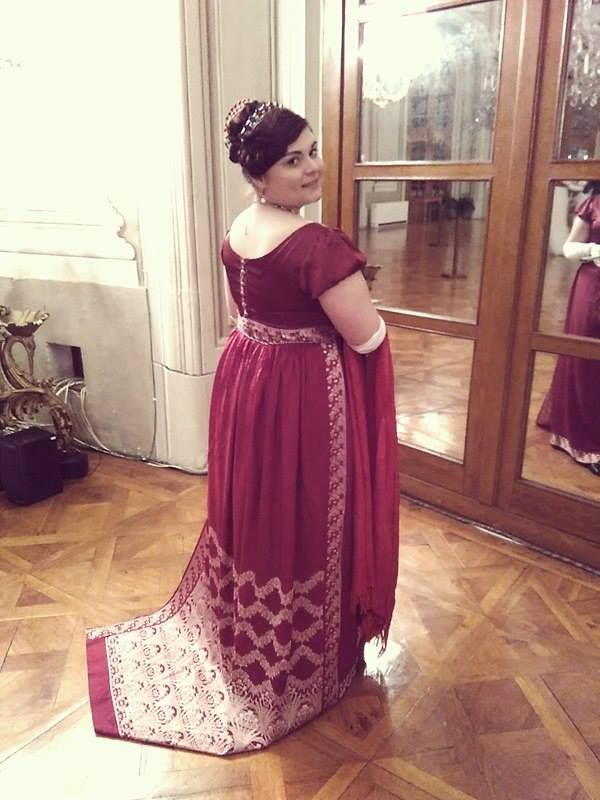 Red regency sari gown.