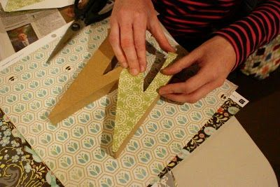 Directions to mod podge cardboard letters