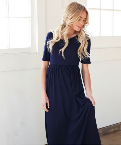 Back by popular demand, the Miranda maxi dress now available in navy. Omika ships modest dresses worldwide from Perth Australia.