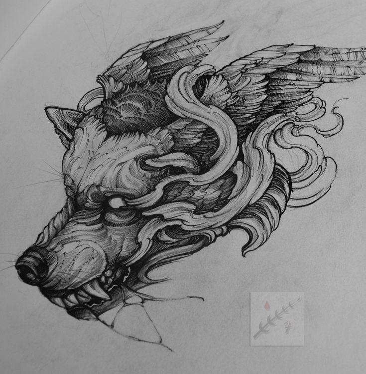 #tattoo #tattoosketch #tattooflash #illustration #art #wolf #black #blackwork #wolftattoo