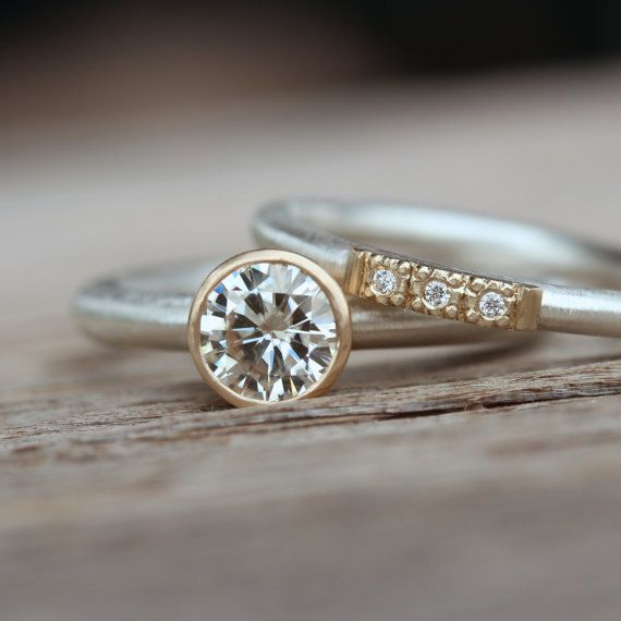 Modern Silver Gold Moissanite Engagement by NangijalaJewelry