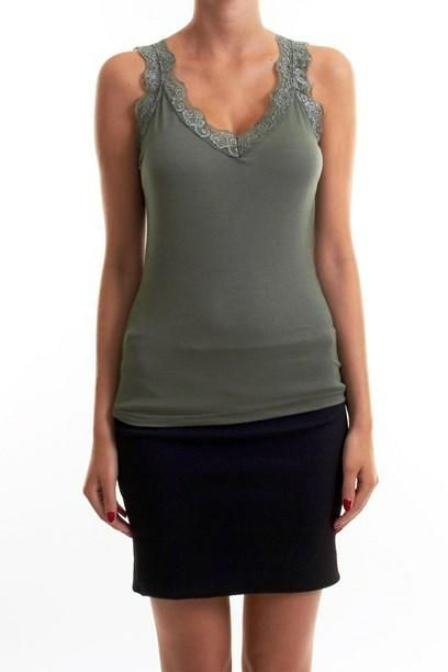 ANDREA TOP- Basic wardrobe top with lace. Sommer top med blonde kant.