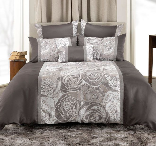 Bianca Arabella Quilt Cover Set Range Pebble