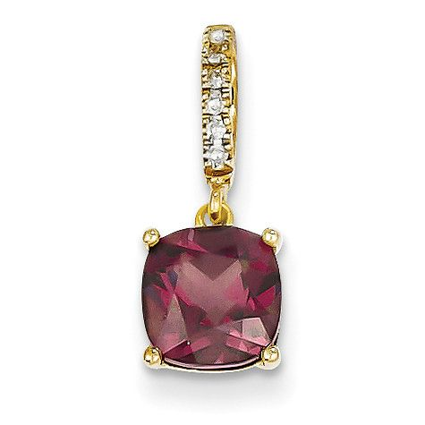 14k Diamond and Rhodolite Garnet Pendant XP4064RG/AA