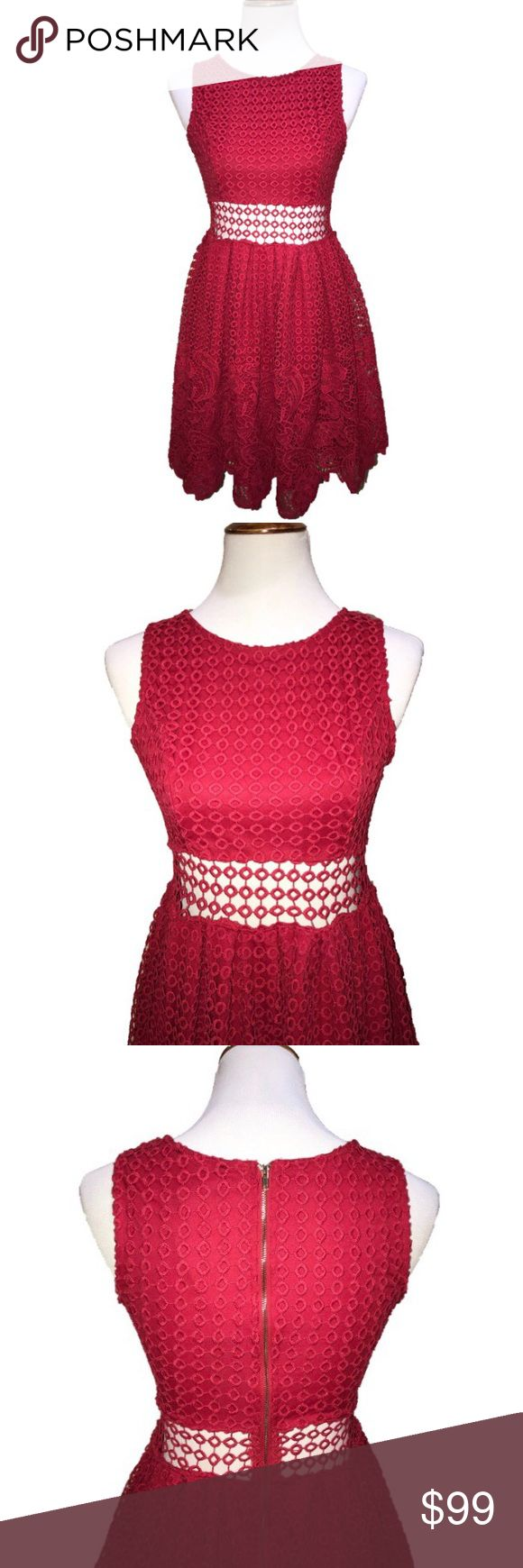 Romeo + Juliet Couture Red Peekaboo Crochet Dress New with tags, gorgeous for Valentines Day❤️! Romeo + Juliet Couture red fit and flare midi dress. Bold red on red crochet overlay on top with red lacy bottom hem, peek a boo waistline, flare pouf skirt, long gold rear zipper. Romeo & Juliet Couture Dresses Midi