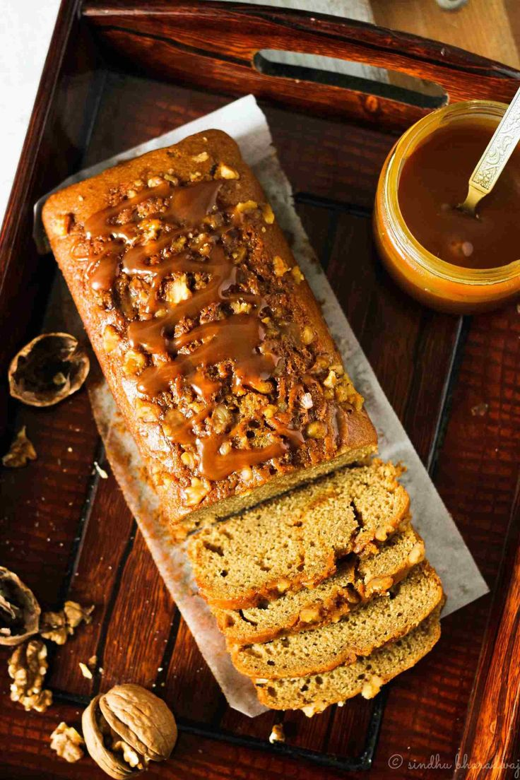 Eggless Coffee Caramel Cake With Walnuts Recipe in 2020
