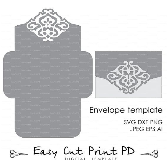 Wedding Envelope Template Instant Download by EasyCutPrintPD                                                                                                                                                                                 Mais