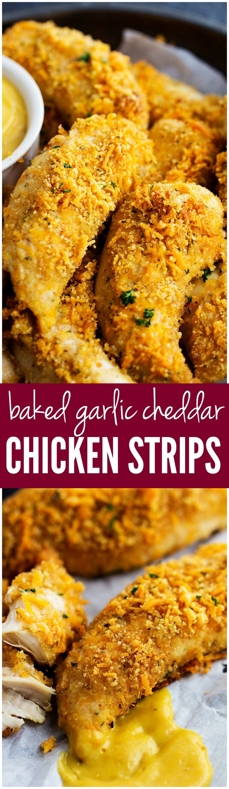 These Baked Garlic Cheddar Chicken strips are breaded in a buttery garlic and cheddar and they are the BEST!