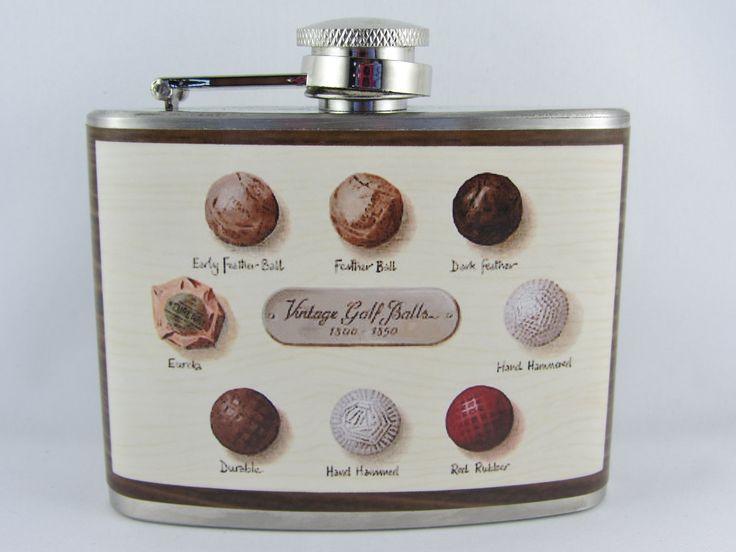 Vintage Golf Flask-  4oz Vintage Golf Balls Flask. $18.00, via Etsy.