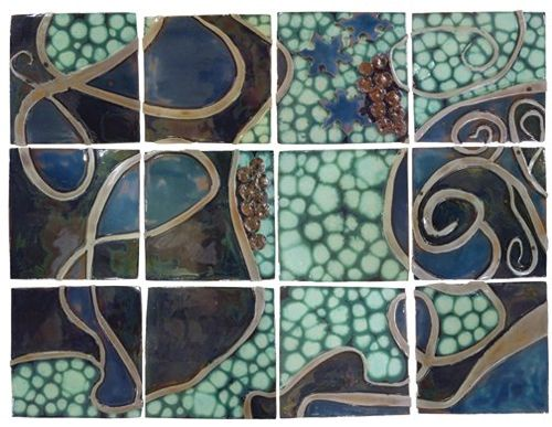 Ebb and Flow is a work of complex patterning and bas relief, twisting and turning throughout the 4' x 3' surface.