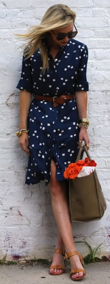 European street style. Button front dress and low heels.