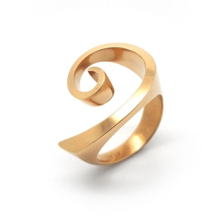 www.ORRO.co.uk – Brigitte Adolph – Red Gold Curly Ring – ORRO Contemporary Jewel… ,  Annika Bella