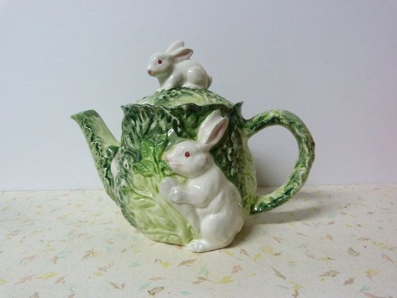 Vintage Shafford Rabbit Patch Teapot Adorable di RavishingRetro, $30.00