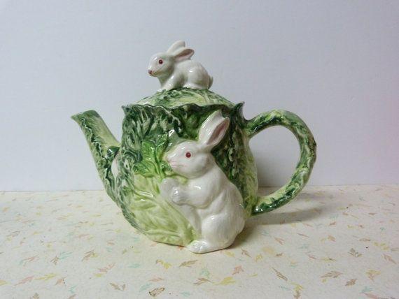 Vintage Shafford Rabbit Patch Teapot Adorable di RavishingRetro, $30.00