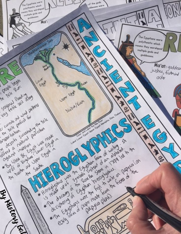 Students will color & doodle as they learn about Ancient Egypt. These graphic doodle notes cover the establishment of Upper and Lower Egypt along the Nile River, Old, Middle, and New Kingdoms, rule of the Hyksos, hieroglyphics, Egyptian gods and goddesses, mummies, pyramids, King Tut, and major achievements of the Ancient Egyptians. Check these out for your 6th, 7th, 8th, 9th, and 10th grade classroom or homeschool students! Middle School & High School Approved! Ancient Egypt World History $