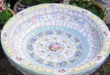 shabby chic bird bath bowl by Viva Mosaic Diva, via Flickr