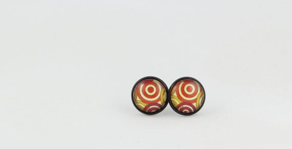 Red Swirl Pattern Stud Earrings - 12mm Stud Earrings - Glass Cabochon Earrings - Gift under 10 - Statement Earrings