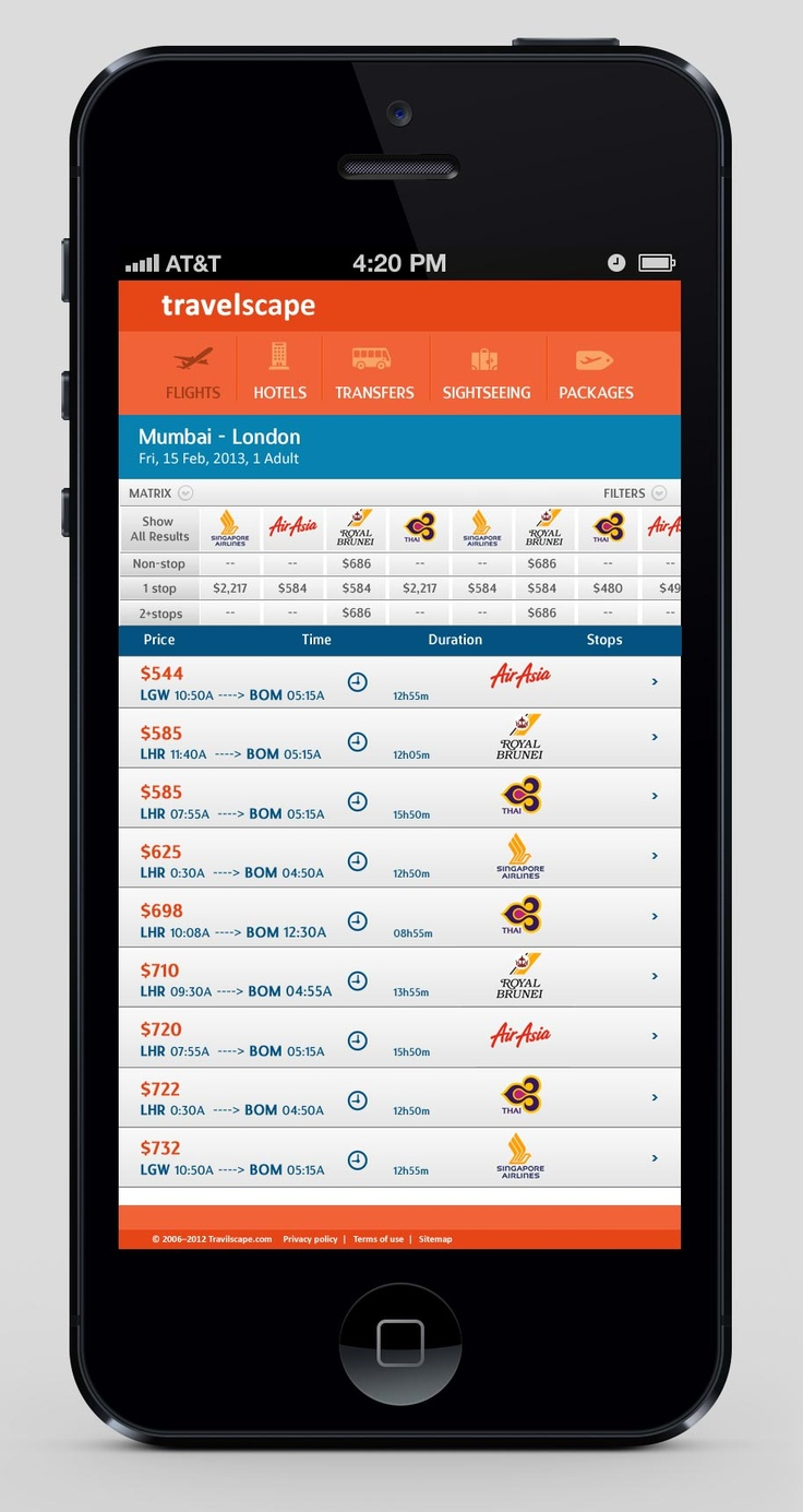 Mobile Application for travel portal
