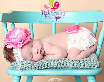 Ruffle Diaper Cover  Baby Lace Bloomer Set by Pinkpaisleybowtique