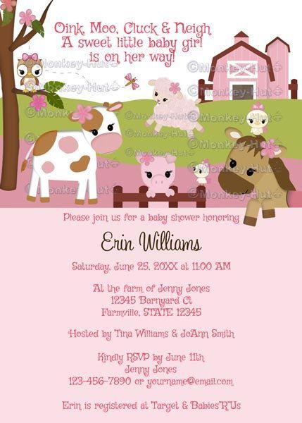 Abby's Farm Animal Baby Shower invitation barn by monkeyhut, $16.00