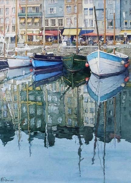 Honfleur Reflections (watercolor by Brian Robinson)