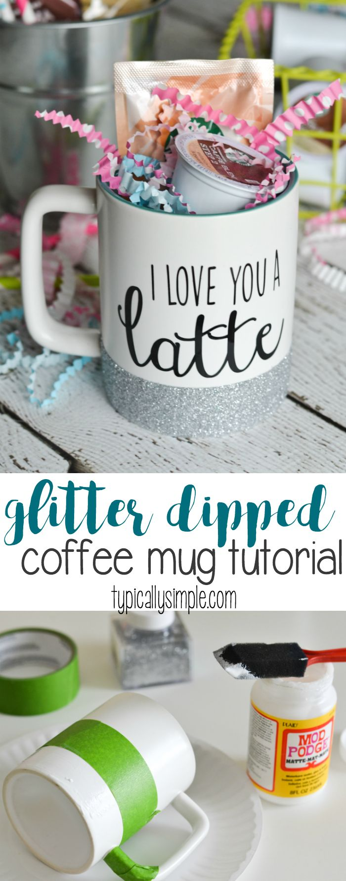 With a few basic craft supplies and this simple tutorial, make a glitter dipped coffee mug! Perfect to keep for yourself or give as a gift with a few k-cup pods! {ad}