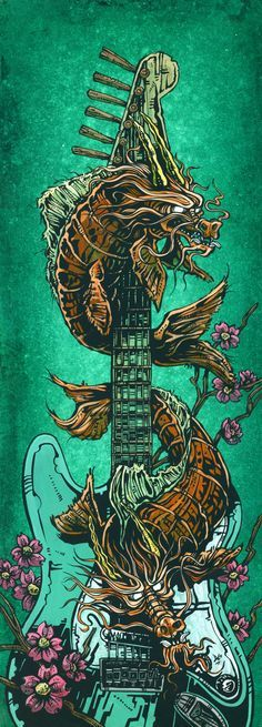 This painting coincided with the release of the Special Edition Stratocasters that David designed. He live painted this koi dragon guitar-themed piece (along with Day of the Dead and octopus pieces) i