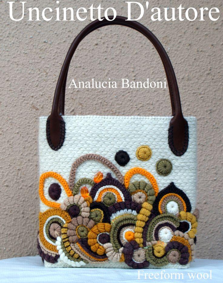 #uncinettodautore #handmade #bag #borsa #analuciabandoni #crochet #uncinetto #freeform #wool