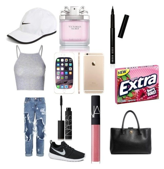 """""""Shopping with friends"""" by ashleycagauan on Polyvore featuring NIKE, Glamorous, One Teaspoon, Victoria's Secret, NARS Cosmetics, Bobbi Brown Cosmetics and Chanel"""