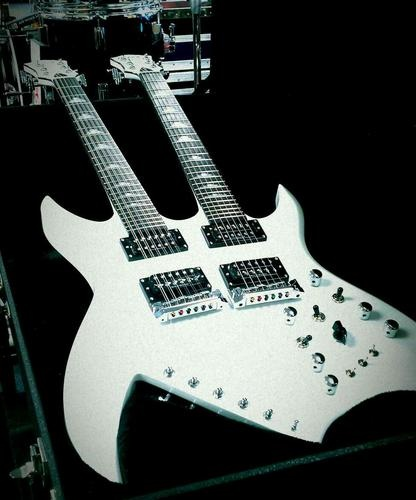 B C Rich Doubleneck Bich Electric Guitar w Hardcase Pearl White Brand New