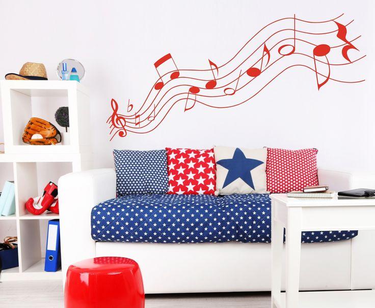 """Vinilo de pared """"Notas musicales"""" decoración de pared en tono perfecto. Varios colores a elegir, montaje fácil"""