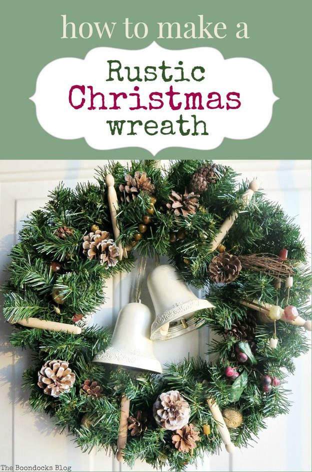 How to make a rustic Christmas wreath using rustic elements such as pine cones, traditional clothes pins and re-purposed, earthy colored necklace beads, #rusticwreath #pinecones Christmaswreath #Naturalwreath How to Make a Rustic Christmas Wreath, theboondocksblog.com