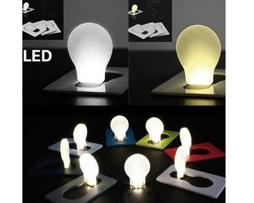 5 Pcs LED Card Light Ultra Slim Fold-Up Pocket Bulb Night Light Portable Mini #Unbranded