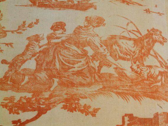 Vintage French toile linen fabric. by RagRescue on Etsy