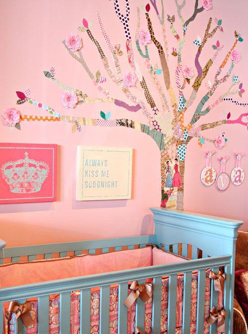 DIY: How to Make a Decoupage Tree: Wall Decor, Nurseries Colors, Blue Wall, Princesses Rooms, Scrapbook Paper, Baby Girls, Girls Nurseries, Girls Rooms, Baby Nurseries