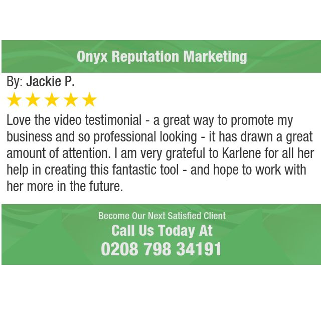 Love the video testimonial - a great way to promote my business and so professional...