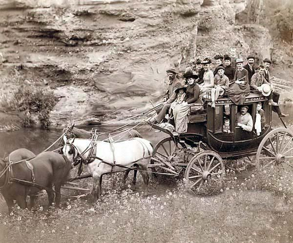 Here we present a rare image of Tallyho Coaching. Sioux City party Coaching at the Great Hot Springs of Dakota. It was taken in 1889 by Grabill, John C. H., photographer. The image shows Horse-drawn stagecoach carrying formally dressed women, children, and men.