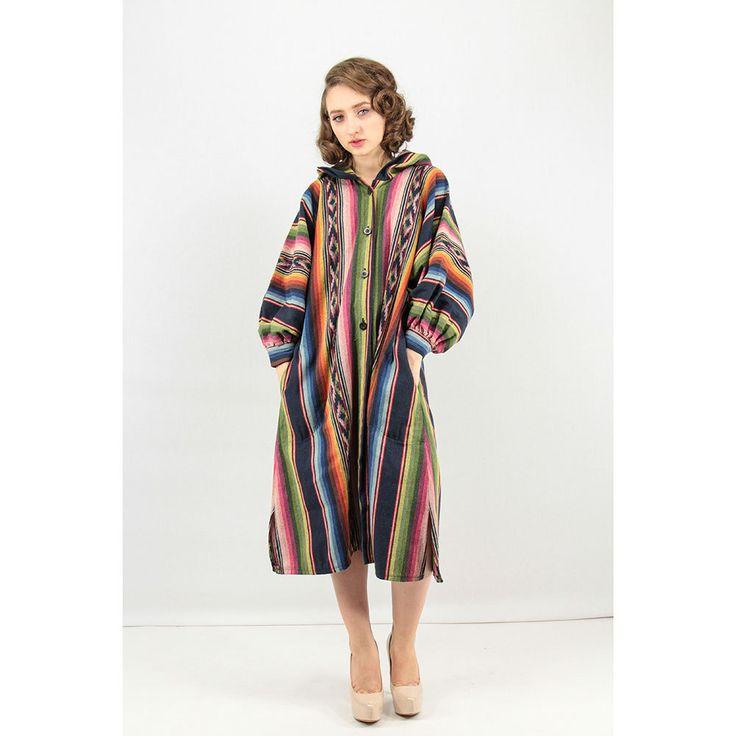 Vintage Ikat Coat / Rainbow Woven Coat / Drug Rug / Hooded Duster With  Balloon Sleeves