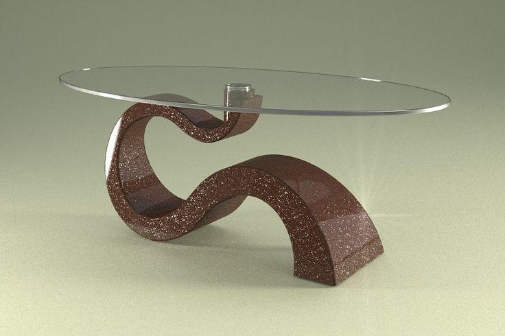 Articolo 491-15     Tavolino da salotto Apopi - Finitura: marrone con brillantini argento.Misure: cm 110 x 65  - Altezza: cm 41 - Peso: Kg. 29 - Vetro: ovale -  temperato - extrawhite - filo lucido - spessore 1 cm