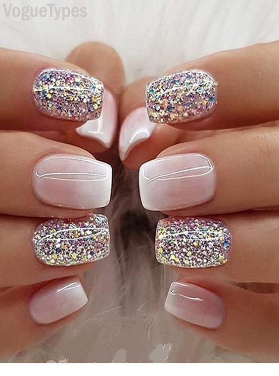 Milky white Ombre Glitter Nail Designs